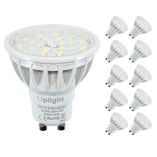 Faretti GU10 LED,Bianco Naturale 4000K Lampadine,Equivalente 50-60W,600lm RA85 120 Gradi Fascio,Confezione da 10 unitàs.