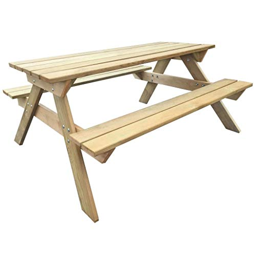 Tidyard Picknicktisch Bierbank Picknickbank Bank Tisch Sitzgruppe Massivholz Kiefernholz 50 x 135 x 71,5 cm