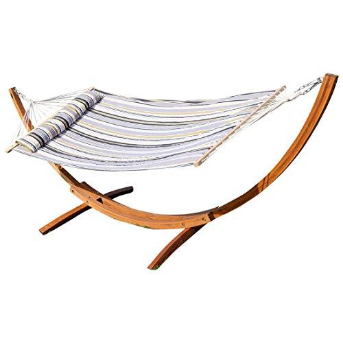 320cm XL LIMITED EDITION Hammock avec du bois de mélèze de cadre hamac bordée Hammock et des vis en acier inoxydable tapissés