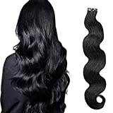 Valiilo Remy Tape in Hair Extensions Wavy Human Hair Natural Black 20pcs Set 40g Silky Wavy Weft Glue in Human Hair Extensions (18 inches, 1B-bw)