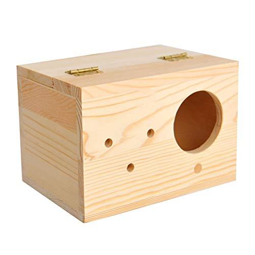 Vogelnest aus Holz für Vögel und Papageien, Vogelhaus Käfige Papagei Zucht Nisten Fütterung Station Käfig Nistkasten