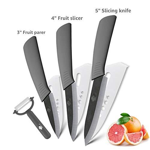 Cuchillos Cocina Cerámica Cuchillos de cocina cuchillo de cerámica de óxido de zirconio japonesa Cuchillo Negro Hoja pelado de la fruta de cerámica Los cuchillos de cocina de chef Conjunto
