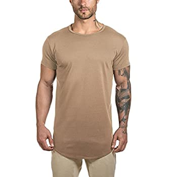 Mens Longline Gym Muscle Bodybuilding Tshirts Hipster Reflective Line Scallop Crewneck Tees Shirts Tops Khaki With Reflective X-Large