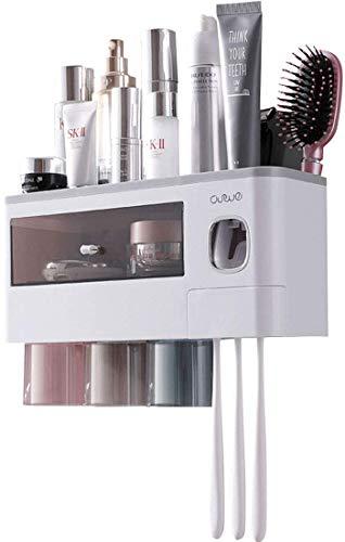 TuCao Dispensador automático de pasta de dientes para ahorrar espacio, para baño, 3 vasos magnéticos transparentes, 6 ranuras para cepillos de dientes, 1 cajón organizador de cosméticos (3 tazas)