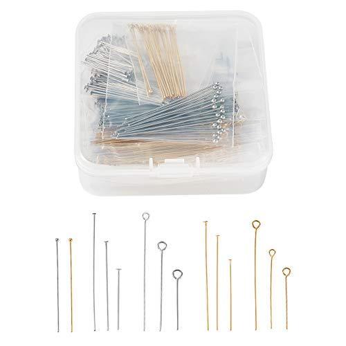 PandaHall 640 pines de acero inoxidable 304 para cabeza de bola, 3 estilos de alambre para fabricación de joyas (color dorado y acero inoxidable)