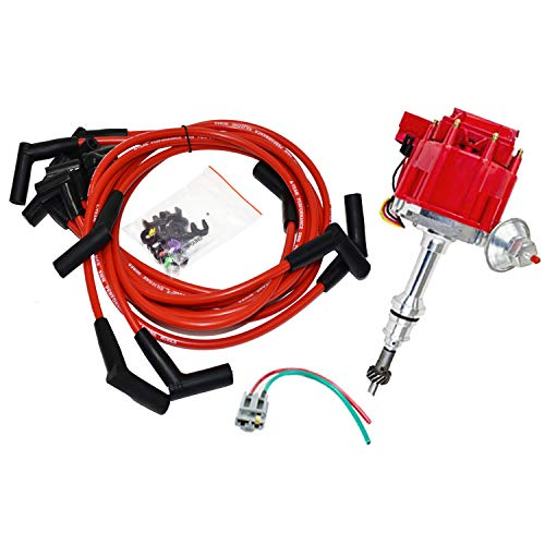 A-Team Performance HEI Distributor 65K Coil Complete w/SBF 8mm Red Silicone Spark Plug Wires and Battery-Pigtail Harness Kit Compatible with SBF 260 289 302 5.0 One Wire Installation Red Cap