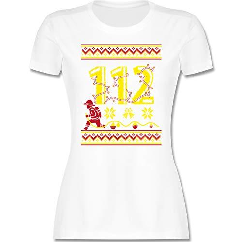 Weihnachten & Silvester - 112 Feuerwehrmann - Wintermuster - XL - Weiß - Feuerwehr - L191 - Tailliertes Tshirt für Damen und Frauen T-Shirt