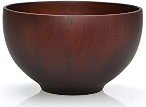 Cuenco tradicional japonés de madera natural de 12 cm de diámetro (Negro)