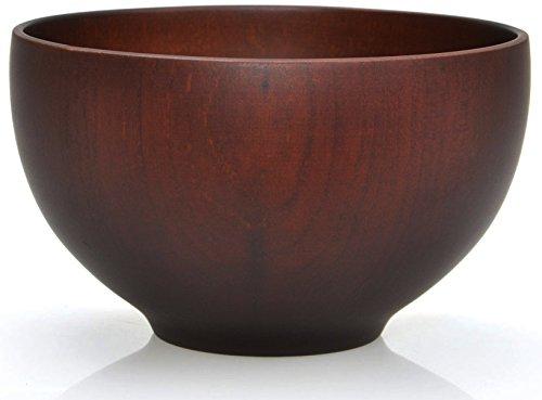 Traditionelle japanische Reisschale bzw. Suppenschale aus Kastanienholz - 12 cm - für Reis, Suppen, Desserts, Knabbereien (Schwarzbraun)