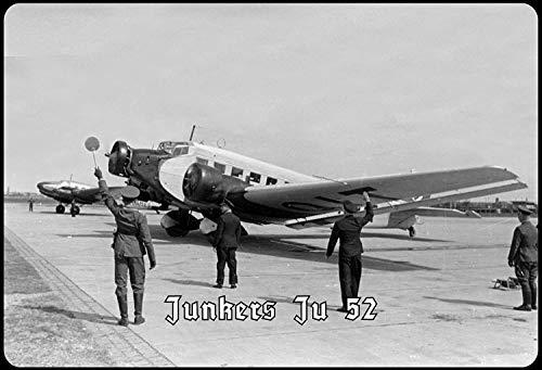 Cartel de Chapa de Junkers Ju 52, diseño de Aeropuerto, Metal arqueado, 20 x 30 cm