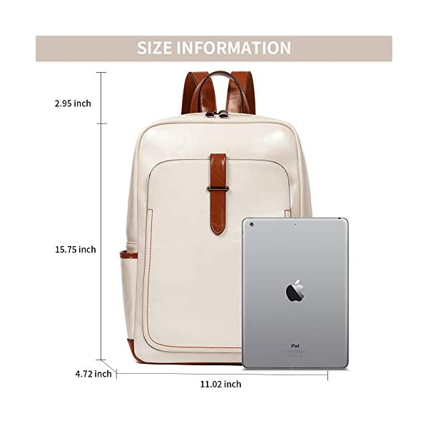 BROMEN Leather Laptop Backpack for Women 15.6 inch Computer Backpack College Travel Daypack Bag 4