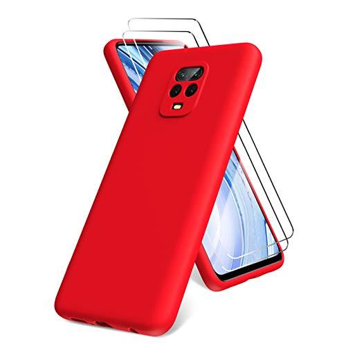 All Do Oududianzi Funda para Xiaomi Redmi Note 9 Pro/Note 9S, Protector Pantalla Cristal Templado, Carcasa de Silicona Líquida Gel Ultra Suave Funda con tapete de Microfibra Anti-Rasguño - Roj