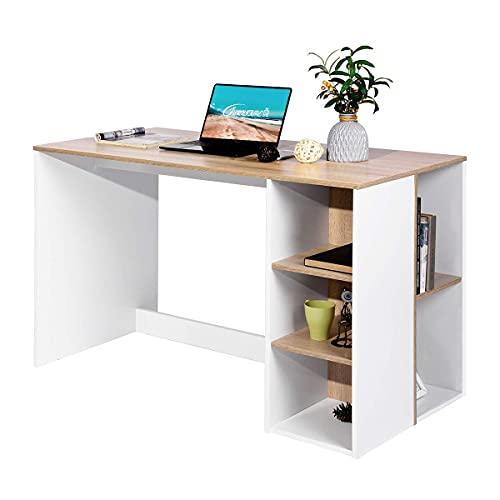 FurnitureR Escritorio de oficina-computadora con almacenamiento, escritorio de estudio-trabajo con 5 estantes, escritorio para estudiantes Mesa de estudio portátil para el hogar...