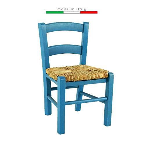 Silla Venezia Baby para niños, de madera para fiestas, colorida, restaurante, cocina, paja (azul, 2)