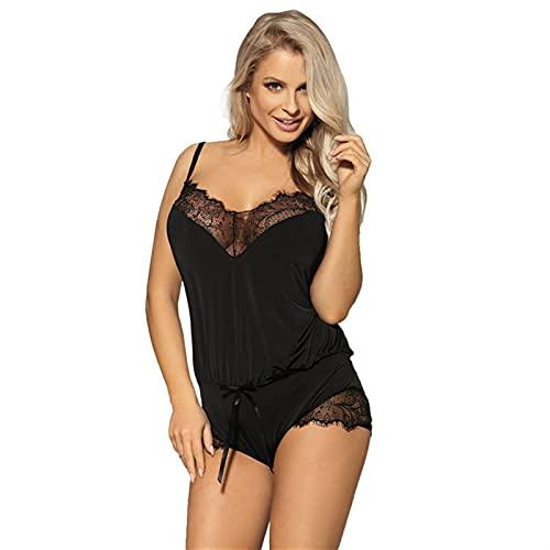 Liaiqing Sexy lencería señoras Club Nocturno de Encaje Que Costura Eslinga tentación de una Pieza Pijamas (Color : Black, Size : 1XL)