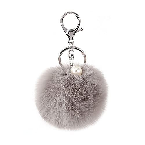 Shining crown Flauschiger Ball Auto Schlüsselanhänger Frauen Pom Pom Handtasche Charms Anhänger Perle