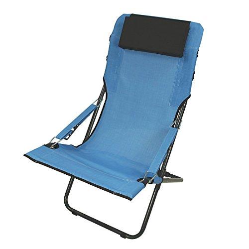 Fridani campingstoel RCB 100 klapstoel blauw + hoofdkussen comfortabele XXL tuinstoel zonnebed