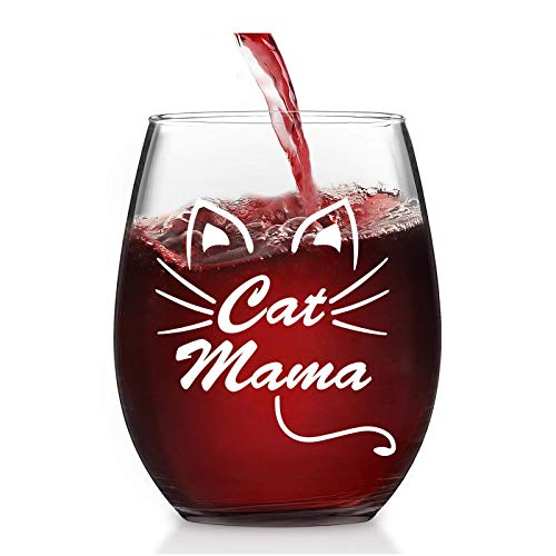 Lighsele Copa de vino tinto con grabado de gato mamá de 35...