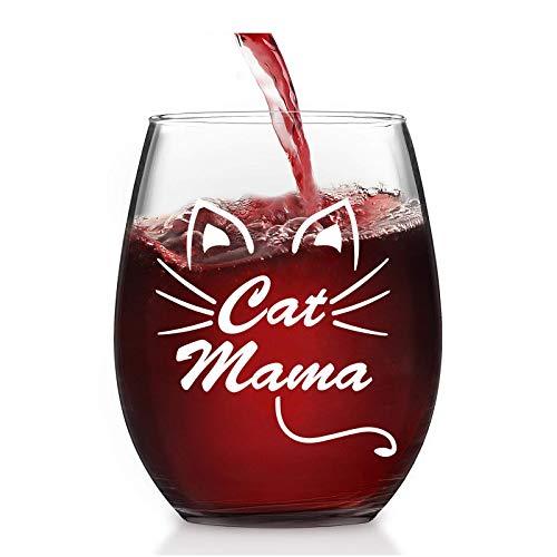 Lighsele Copa de vino tinto con grabado de gato mamá de 35 ml   Vaso sin mango, vaso de cristal con forma vientre para vino blanco, para bebidas frías, regalo para madre, día de la madre, cumpleaños