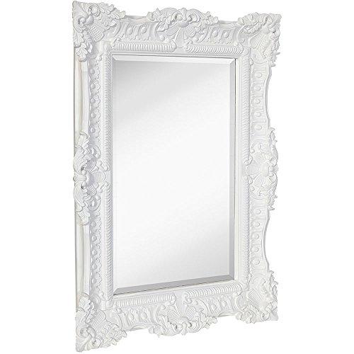 "Hamilton Hills Large Ornate White Gloss Baroque Frame Mirror | Aged Luxury | Elegant Rectangle Wall Piece | Vanity, Bedroom, or Bathroom | Hangs Horizontal or Vertical (30"" x 40"")"