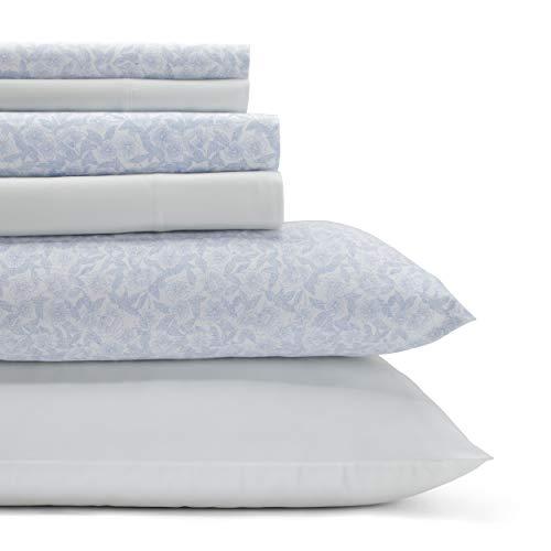 Laura Ashley Home Belle Cotton 6-Piece Sheet Set, Full, USHSA01149227, Blue Cashmere