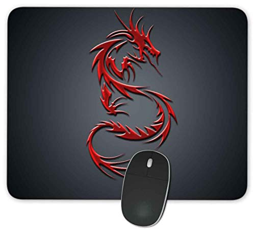 Rectangle Mouse Pad,Anti Slip Rubber Rectangle Red Dragon Mousepads Desktops Gaming Mouse Mat Customized Designed for Home and Office,9.45 x 7.9inches