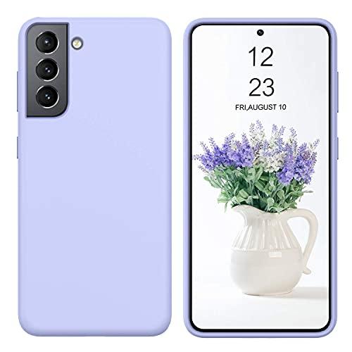 DUEDUE Samsung Galaxy S21 Hülle Silikon, Handyhülle Samsung Galaxy S21 Schutzhülle Slim Hülle Cover Liquid Silikon Gel Matte Hülle Kratzfest für Samsung Galaxy S21 5G 2021 Lila