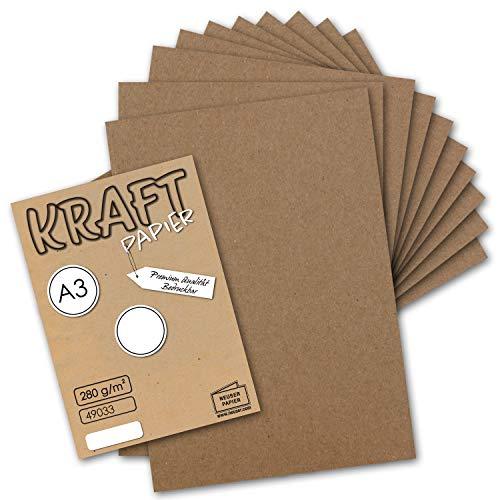 25x Vintage Kraftpapier DIN A3 280 g/m² Natur-braunes Recycling-Papier, 100% ökologisch Bastel-Karton Einzel-Karte I Umwelt by Gustav NEUSER®