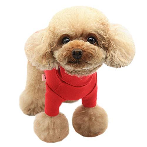 Kitipcoo Hunde-T-Shirt mit Rollkragen, für kleine Hunde und Katzen, einfarbig, lange Ärmel, Hundebekleidung für kleine Hunde, Pudel, Schnauzer, Minlature, Pinscher (M, Rot)