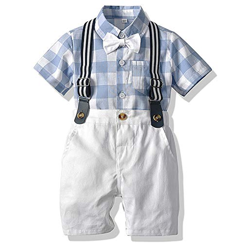 CARETOO Baby Jungen Bekleidungssets Kleidung Set Gitter Shirt + Hose Baby Fliege Anzug für Baby Geburtstagsparty Kleid, Blau, Etikett 70 (Körpergröße 60~70 cm)