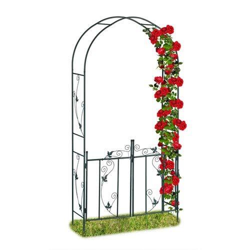 Relaxdays Rosenbogen mit Tür, Garten Rankhilfe Kletterpflanzen, Torbogen Metall, wetterfest, 230 x 113,5 x 36,5 cm, grün