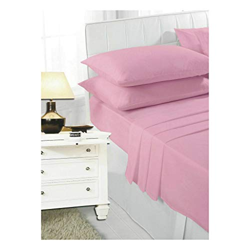 """COTONWIZE Pink Easy Iron Percale 180 Thread Count 100% Poly Cotton Bunk Bed Fitted Sheets, Bunk Bed Sheets Bunk Beds for Kids, Bunk Beds 2ft 6"""" Fitted Sheet Small Single Bunk Bed"""