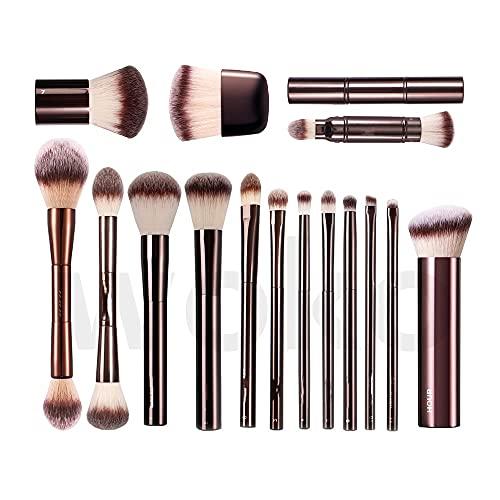 jwj Pinceaux cosmétiques pour poudre, blush, fond de teint, correcteur, fard à paupières, estompeur, pinceau à sourcils, pinceau à maquillage en métal (couleur du manche : HG à double extrémité)