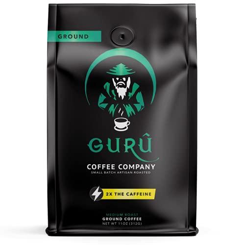 Guru Coffee Company High Caffeine Medium Roast Ground Coffee, Natural Energy From Premium Gourmet Specialty Grade Beans, 11 ounce