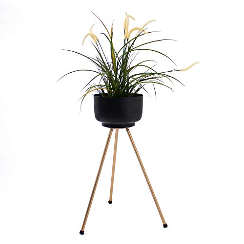 Bloempot standaard Ø20xH55cm ijzer zwart/goud, plantenstandaard, bloempot houder, plantenbak