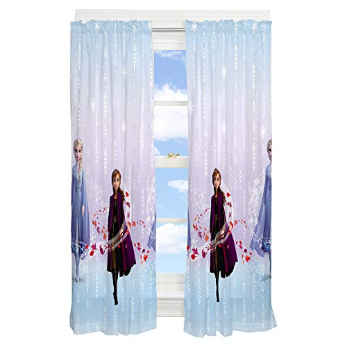 "Franco Kids Room Window Curtain Panels Drapes Set, 82"" x 63"", Disney Frozen 2"