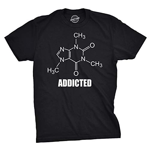 Crazy Dog T-Shirts Caffeine Addicted T Shirt Funny Organic Chemistry Compound Tee (Black) - M