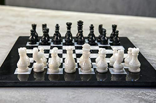 RADICALn 15 Inches Handmade Black and White Large Weighted Marble Full Chess Game Set Staunton and AmbassadorStyle Tournament Chess Sets -Non Wooden Metal -Non Magnetic -No Digital Dgt -Not Chinese