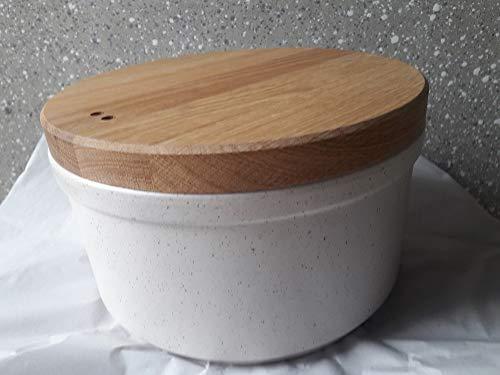 hochwertiger Brottopf aus Steinzeug in aufwendiger Handarbeit hergestellt Form rund mit Holzdeckel/Schneidbrett