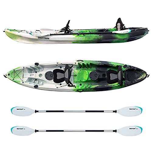 Driftsun Teton 120 Hard Kayak - 2 Person Tandem Sit-On-Top Kayak Package with 2 EVA Padded Seats, 2 Aluminum Paddles and Fishing Rod Holder Mounts (Green/Blue)