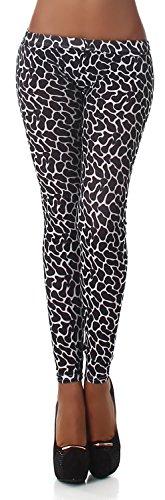 Q.A. Damen Leggings lang in verschiedenen Designvarianten, schwarz Flecken Größe 38-42