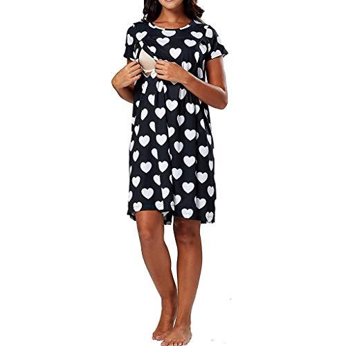 STRIR Premamá Camisón Vestido Lactancia Maternidad Mujer Entrega Bata Hospital Ropa Dormir Vestido de Lactancia Maternidad para Amamantar