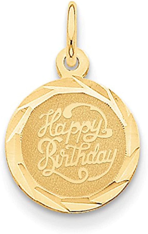 Diamond2Deal 14k Yellow gold Happy Birthday Disc Pendant