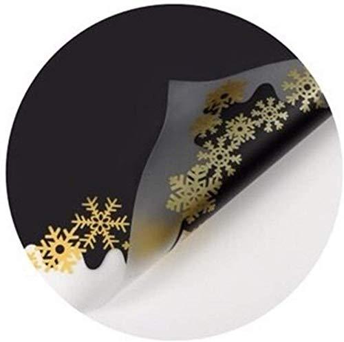 ZXL Mit Schneeflocken bedrucktes Geschenkpapier, zweifarbiges Geschenkpapier für den Blumenstrauß Konditorei Kleine Matte Kekse Verpackungsmaterial Papier 20 Blatt (Farbe: H, Größe: 60 * 60 cm)