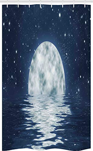 ABAKUHAUS Maan Douchegordijn, Maan die over Overzees, voor Douchecabine Stoffen Badkamer Decoratie Set met Ophangringen, 120 x 180 cm, Night Blue White