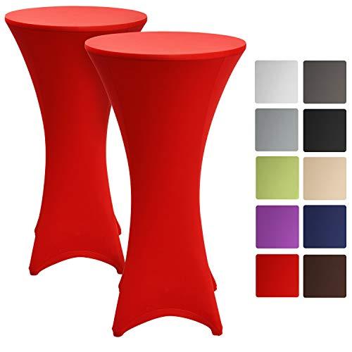 Beautissu 2er Set Stretchhusse Stehtisch Stella Ø 60-65 cm - Edle Stretch Stehtischhusse als Husse Tischüberzug in Rot