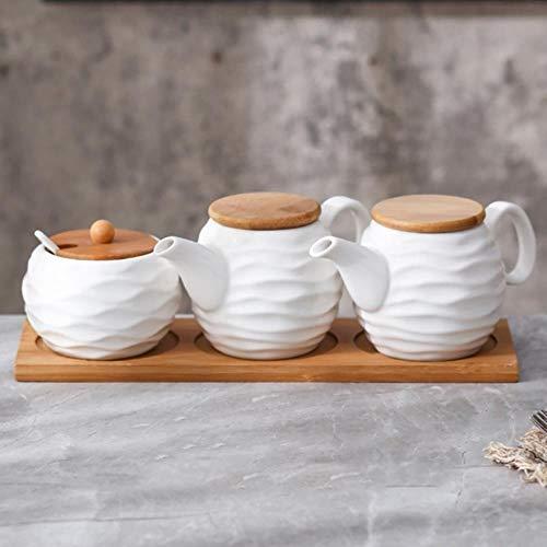 Keramische Kruiderij Opbergpot Huishoudelijke Kruiden Pot Bamboe Lade Kruidkruik Sojasaus Doos Zout Suiker Kan Kruiden Potten Keuken Organizer Gereedschap, Driedelige Set