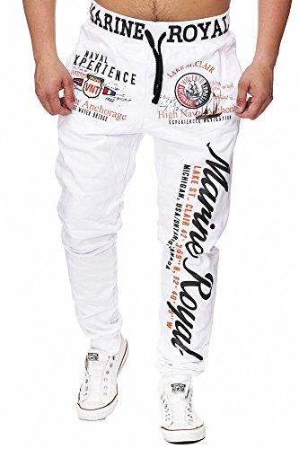 L.gonline Jogginghose Herren lang | Trainingshose Baumwolle | Sporthose mit Bündchen | Enger Beinabschluss | Marine 5258 (M, Weiß)