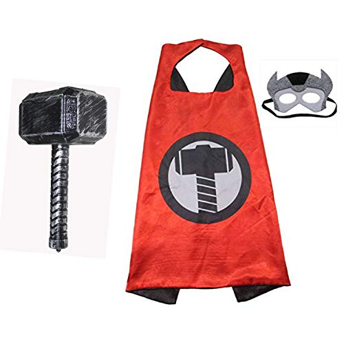 Kaku Fancy Dresses Thor Superhero Cape Robe with Hammer Toy for Kids Fancy Dress Costume for Boys and Girls (3-8 Years)