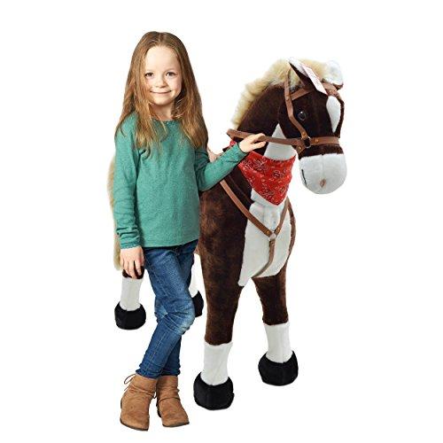 Pink Papaya Plüschpferd XXL 105cm - Max, riesiges Pferd zum Reiten, EIN tolles Stehpferd XXL, bis 100kg, Spiel-Pferd Reitpferd zum Draufsitzen inkl. Kleiner Bürste - EIN Kindertraum für Mädchen!
